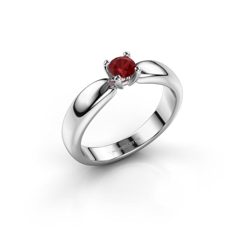 Promise ring Katrijn 925 zilver robijn 4.2 mm