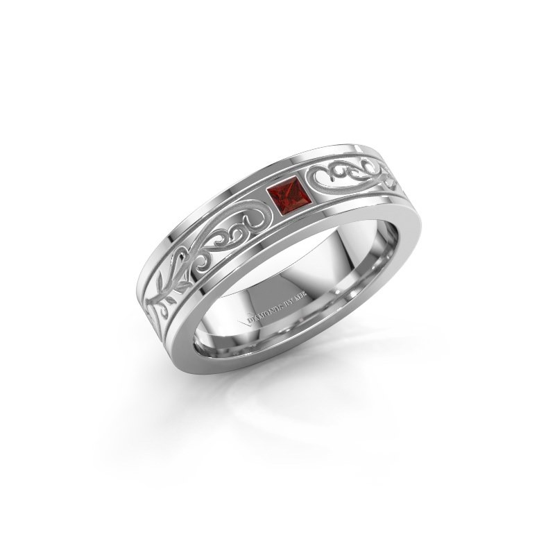 Men's ring Matijs 585 white gold garnet 3 mm