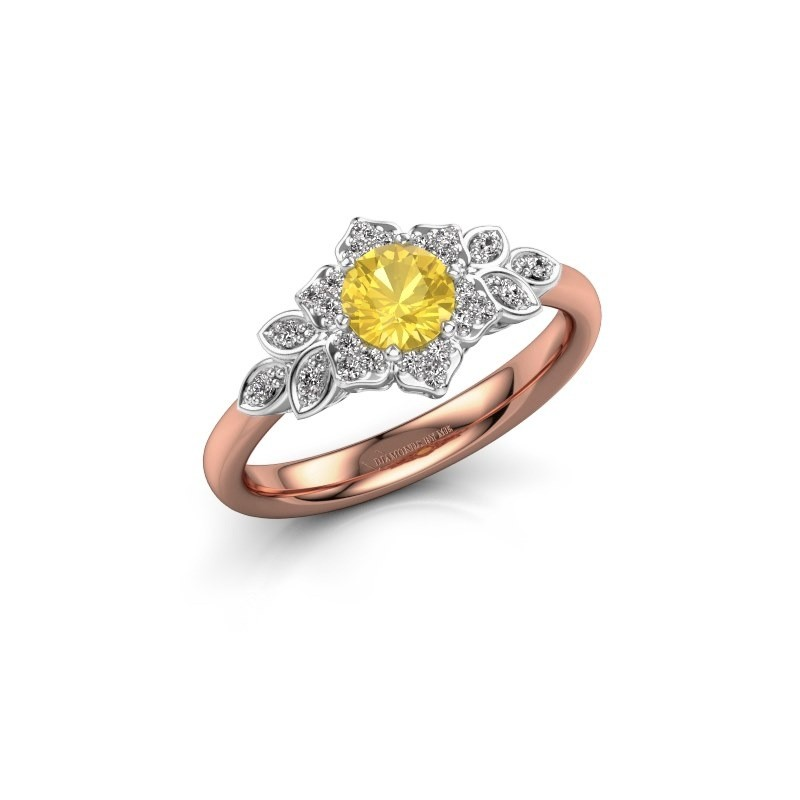 Engagement ring Tatjana 585 rose gold yellow sapphire 5 mm