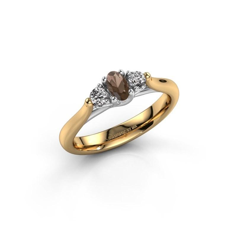 Verlovingsring Jente OVL 585 goud rookkwarts 5x3 mm