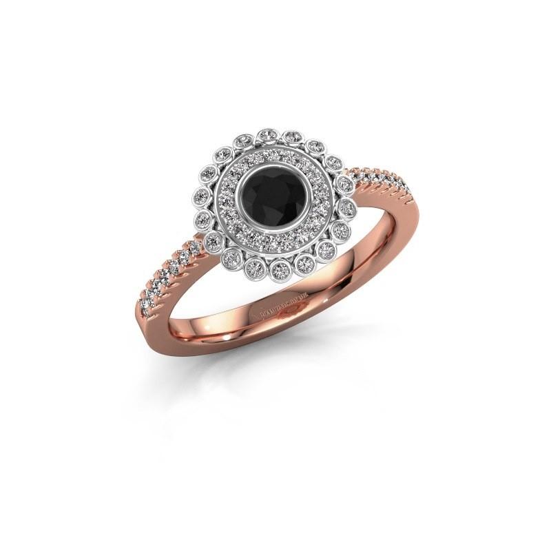 Bague de fiançailles Shanelle 585 or rose diamant noir 0.30 crt