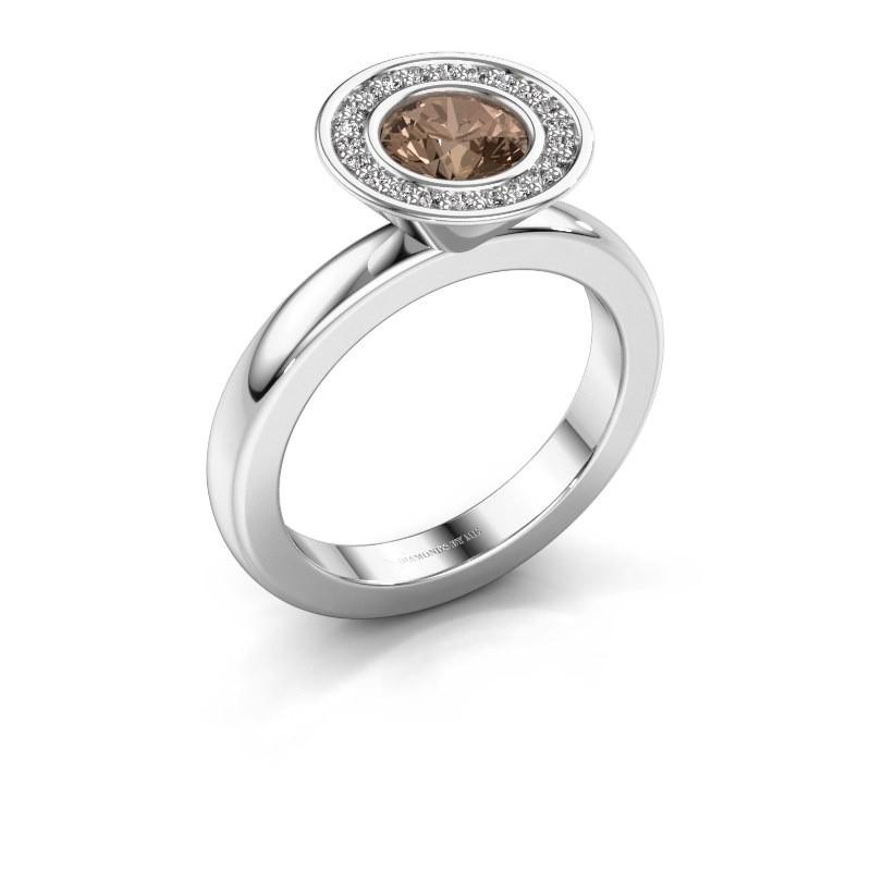 Stapelring Danille 950 platina bruine diamant 0.91 crt