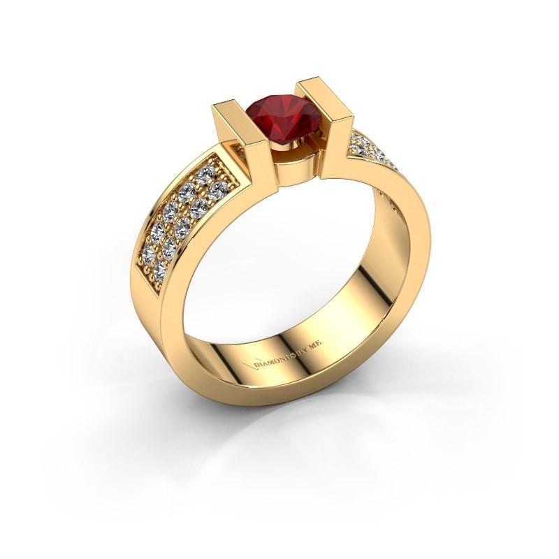 Verlovingsring Lieve 3 375 goud robijn 5 mm