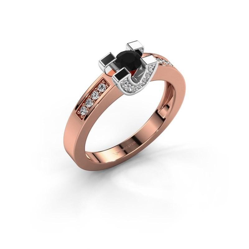 Verlovingsring Jasmijn 2 585 rosé goud zwarte diamant 0.46 crt