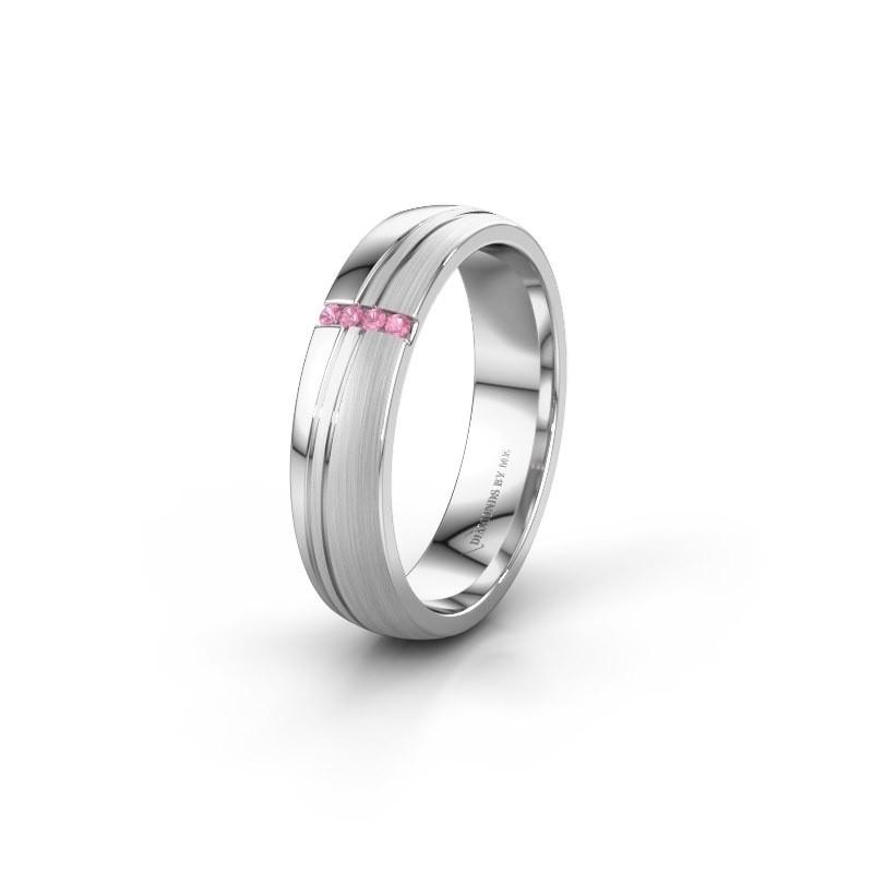Weddings ring WH0909L25X 950 platinum pink sapphire ±5x1.5 mm