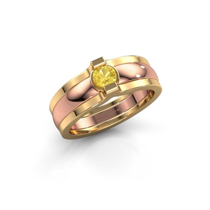 Ring Jade 585 rose gold yellow sapphire 4 mm