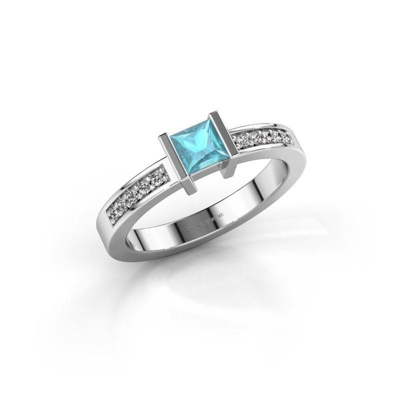 Engagement ring Jordan 950 platinum blue topaz 4 mm