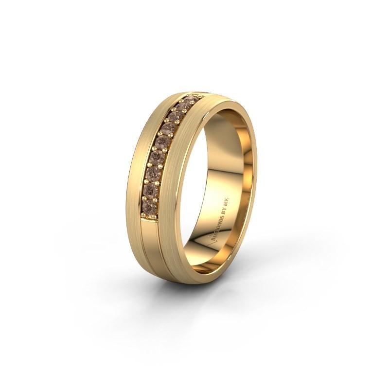 Trouwring WH0413L26APM 585 goud bruine diamant ±6x1.7 mm