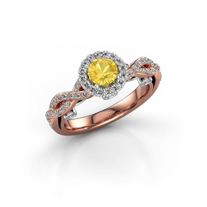 Verlovingsring Madeleine 585 rosé goud gele saffier 5 mm