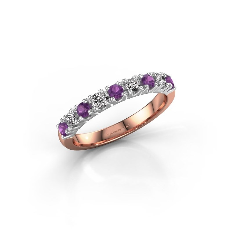 Engagement ring Rianne 9 585 rose gold amethyst 2.4 mm