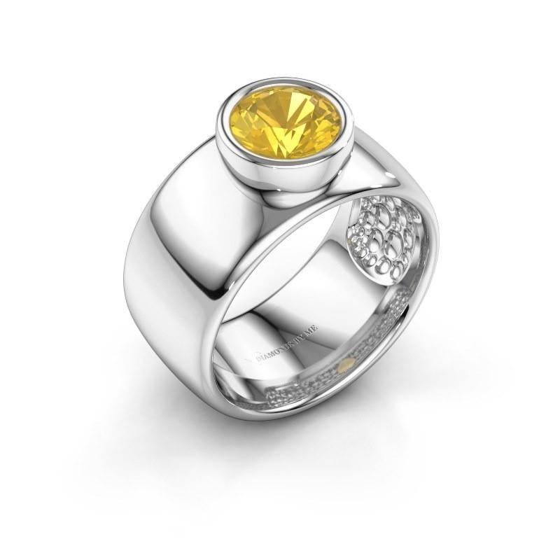 Ring Klarinda 925 zilver gele saffier 7 mm