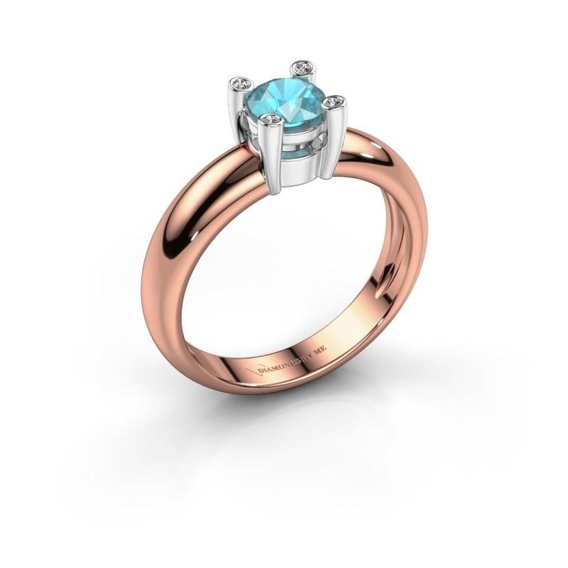Ring Fleur 585 rosé goud blauw topaas 4.7 mm