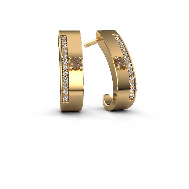 Oorbellen Vick1 375 goud bruine diamant 0.230 crt