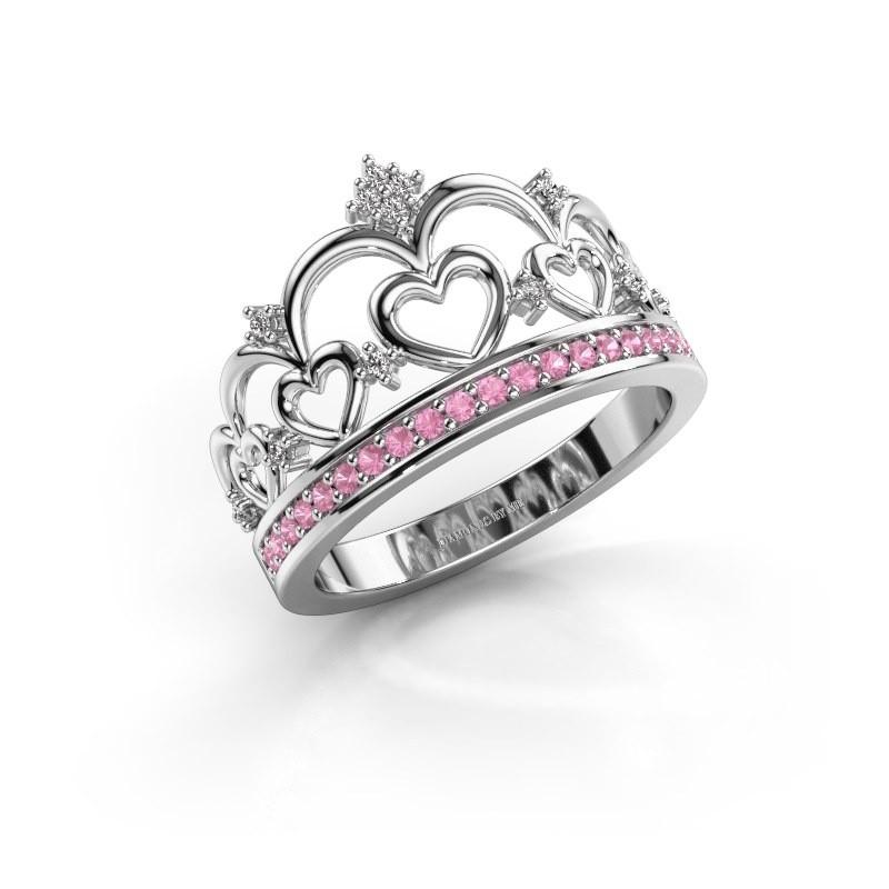 Ring Kroon 2 585 witgoud roze saffier 1.2 mm