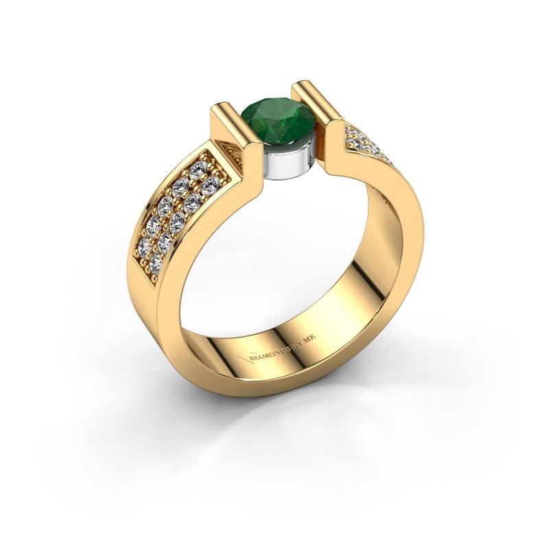 Engagement ring Isabel 3 585 gold emerald 5 mm