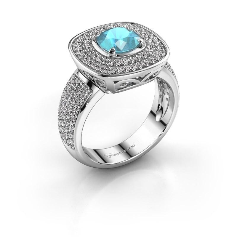 Ring Eliana 950 platina blauw topaas 6 mm