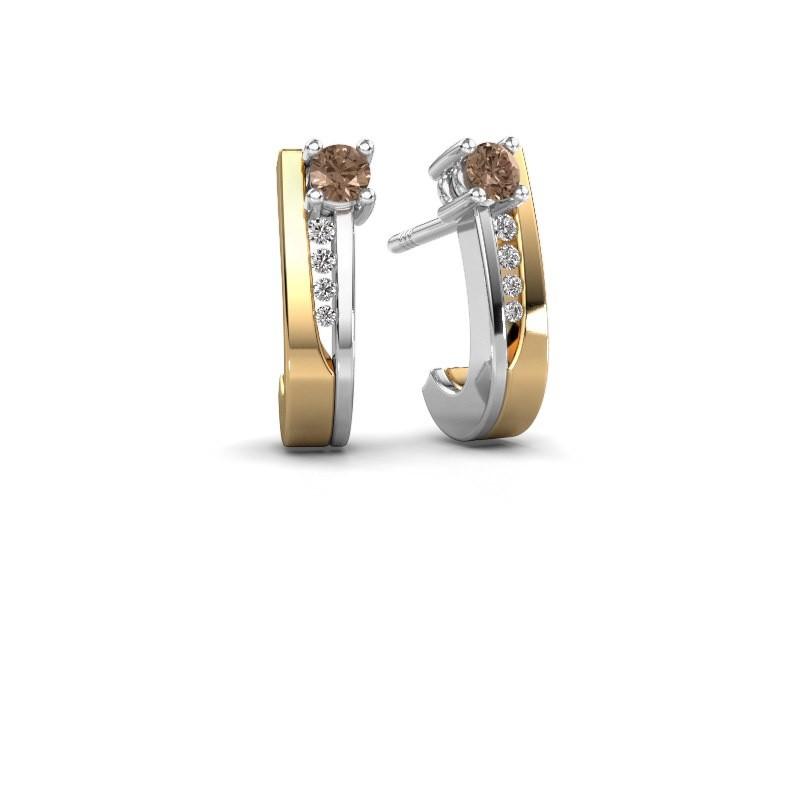 Oorbellen Jewell 585 goud bruine diamant 0.218 crt