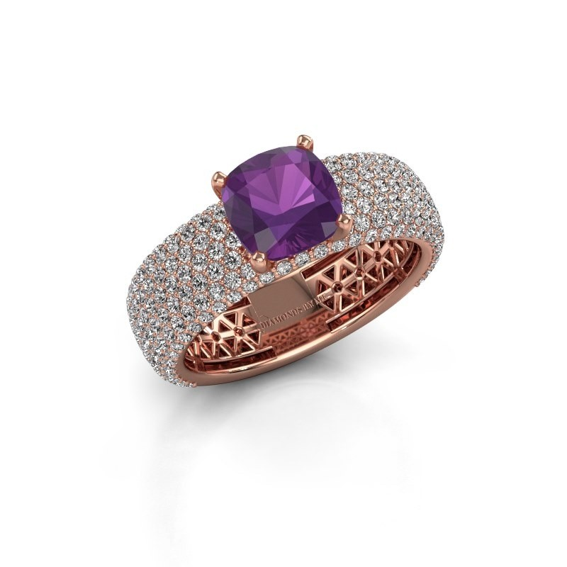 Engagement ring Darcy 375 rose gold amethyst 7 mm
