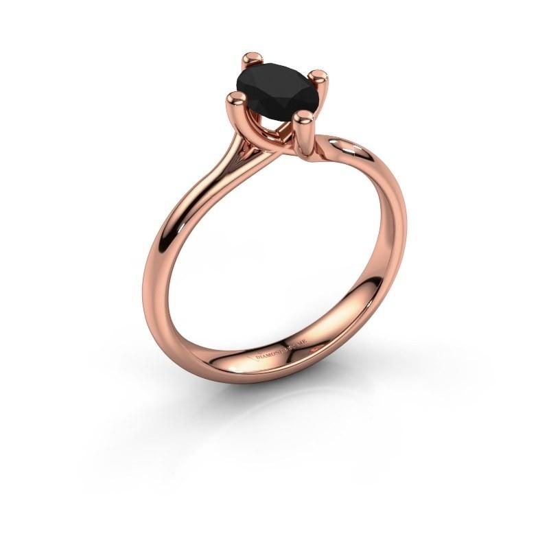 Verlobungsring Dewi Oval 585 Roségold Schwarz Diamant 1.05 crt