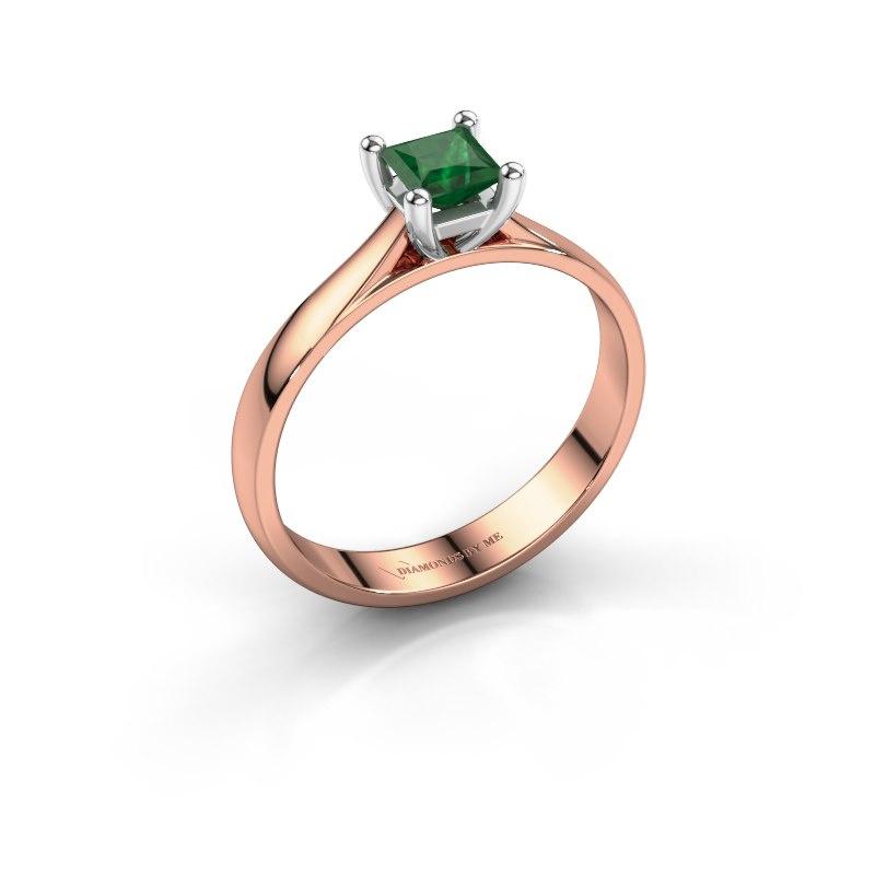 Verlobungsring Sam Square 585 Roségold Smaragd 4 mm