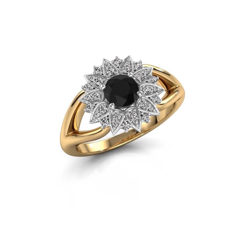 Verlovingsring Chasidy 1 585 goud zwarte diamant 0.60 crt