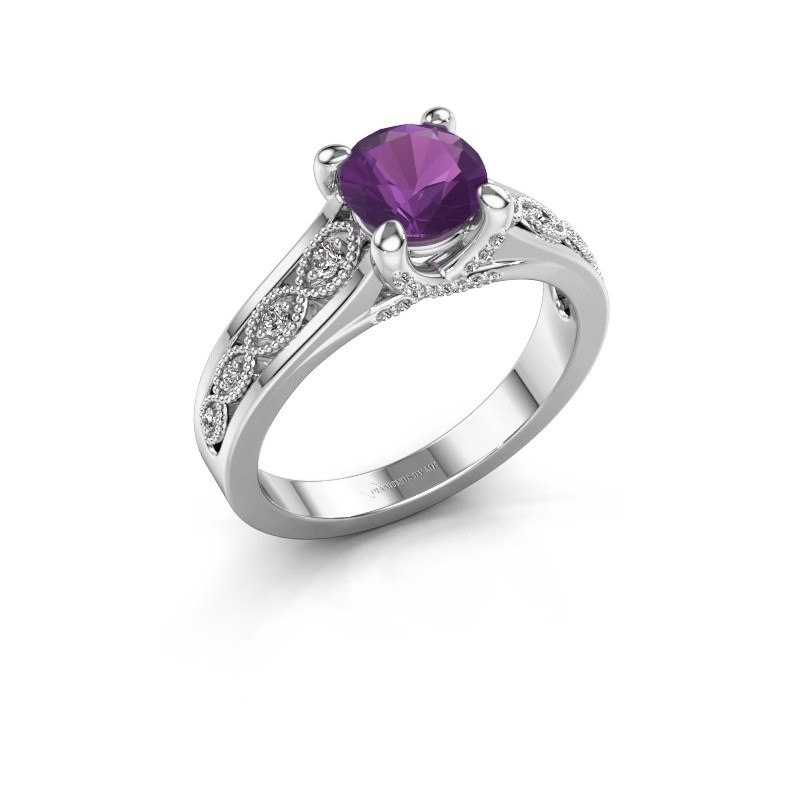 Engagement ring Clarine 585 white gold amethyst 6.5 mm