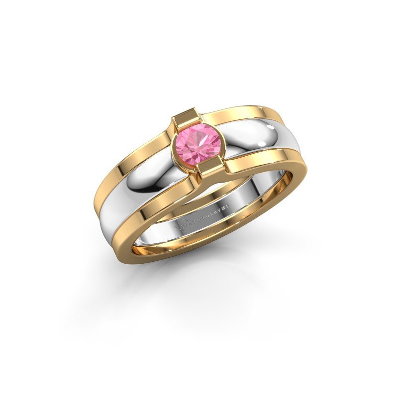 Ring Jade 585 white gold pink sapphire 4 mm