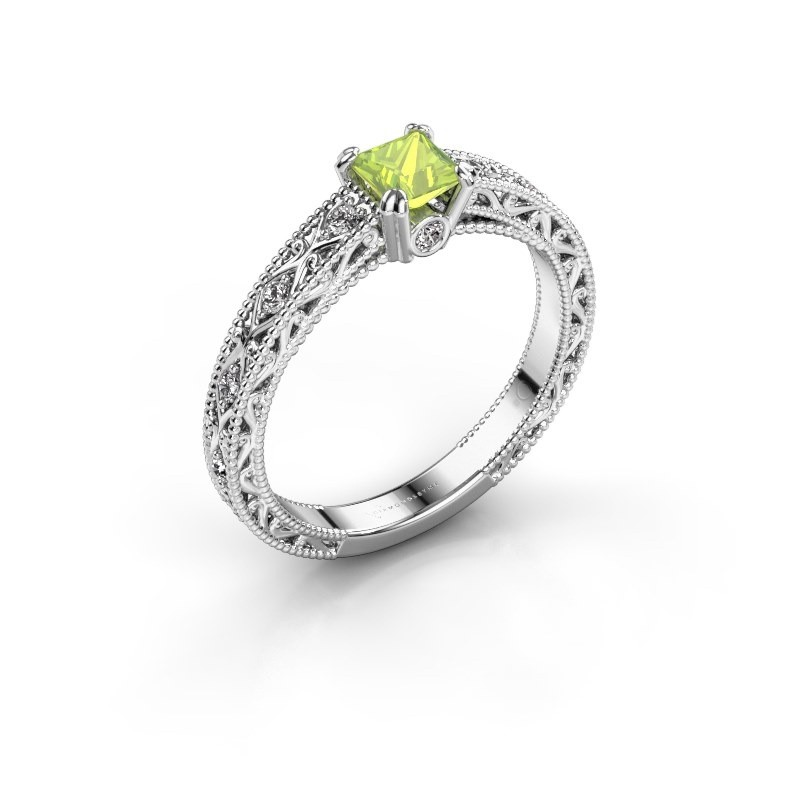 Engagement ring Ardella 585 white gold peridot 4 mm