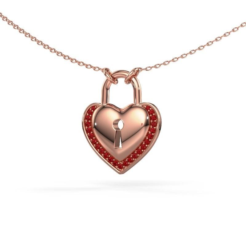 Halsketting Heartlock 375 rosé goud robijn 1 mm