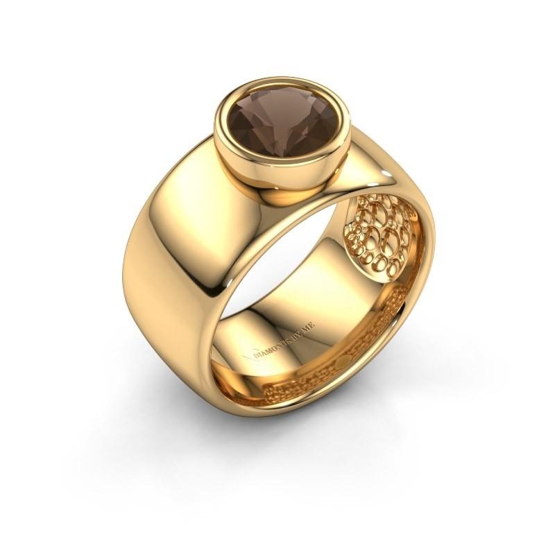 Ring Klarinda 585 gold smokey quartz 7 mm