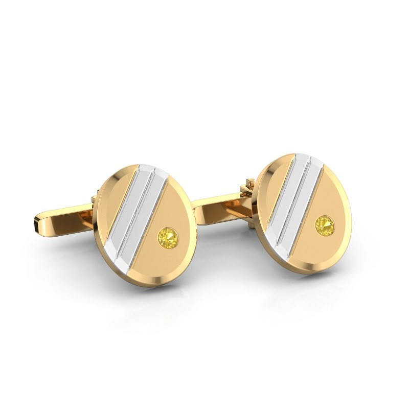 Cufflinks Wesley 585 gold yellow sapphire 2.7 mm
