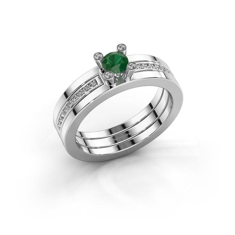 Ring Alisha 585 witgoud smaragd 4 mm