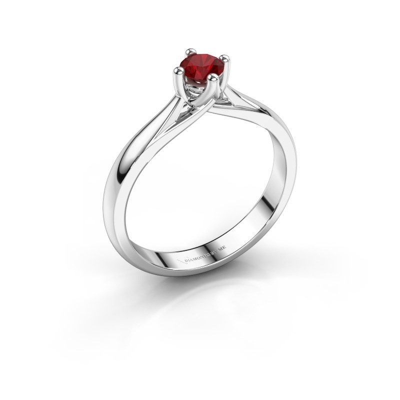 Engagement ring Janne 585 white gold ruby 4.2 mm