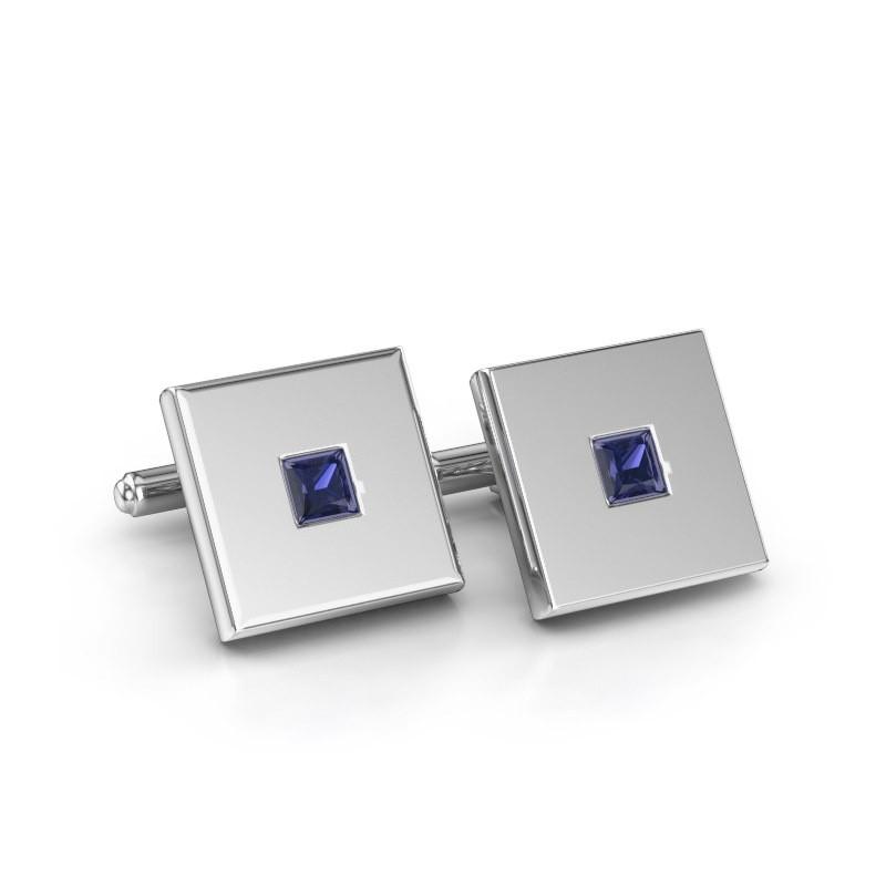 Cufflinks Givanti 585 white gold sapphire 4 mm