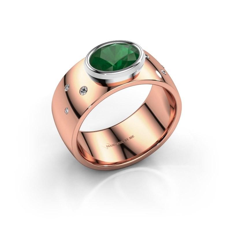 Ring Wilma 2 585 rosé goud smaragd 8x6 mm