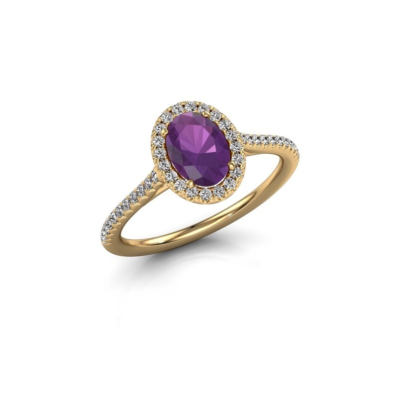 Engagement ring Seline 2 375 gold amethyst 7x5 mm