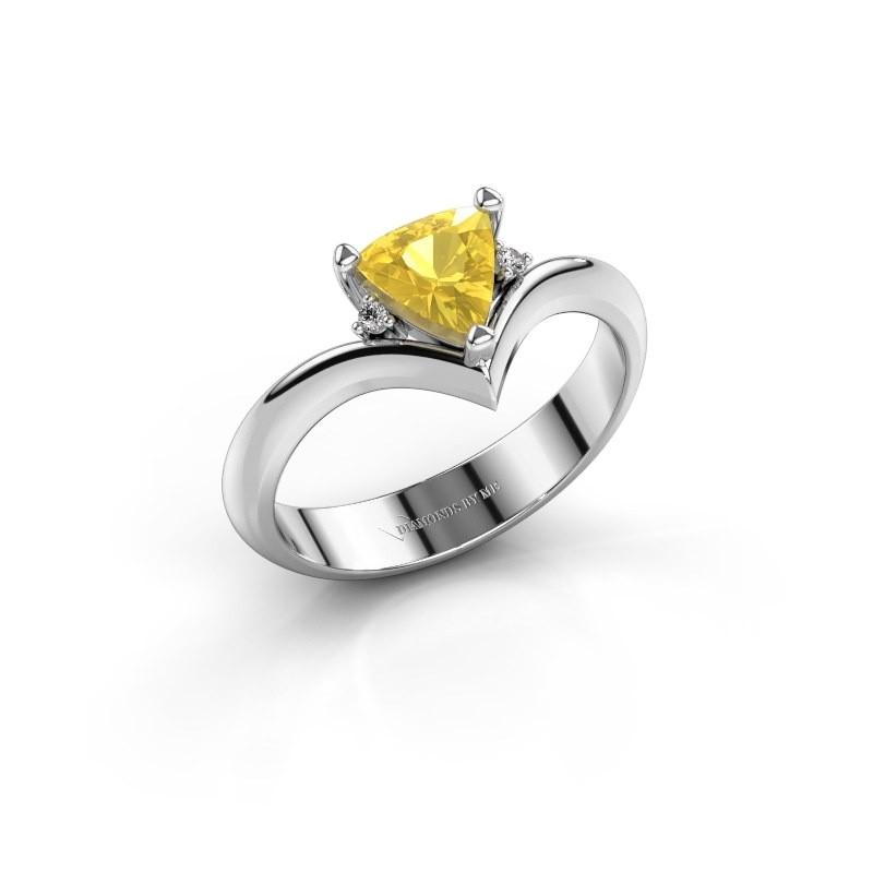 Ring Arlette 585 witgoud gele saffier 7 mm