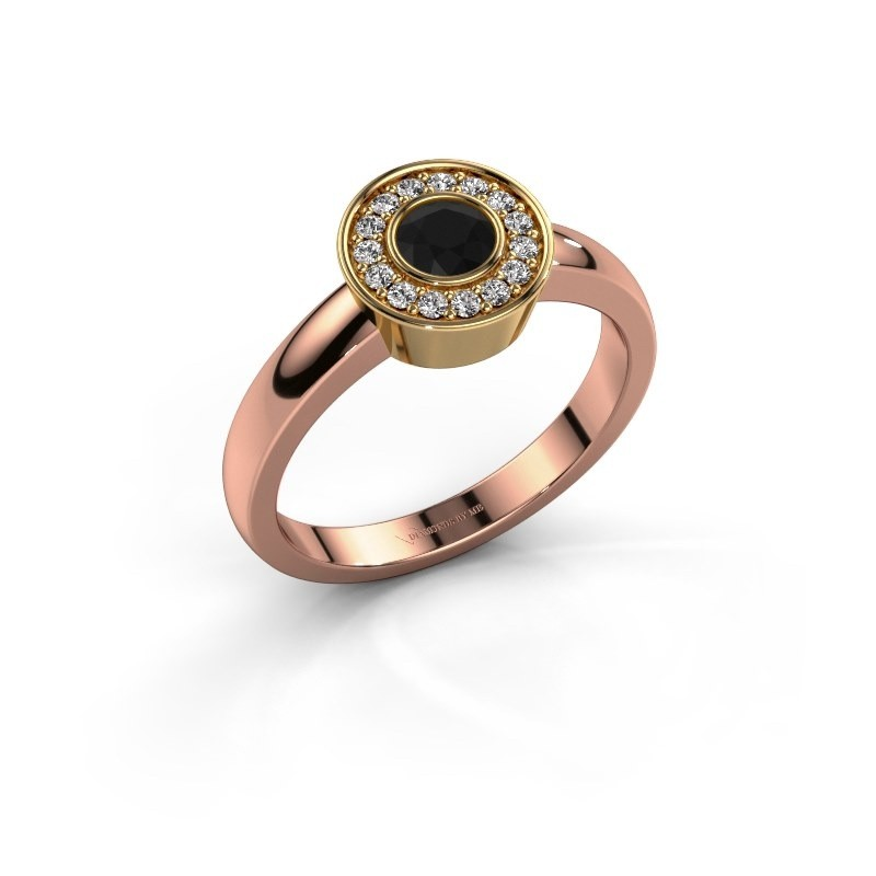 Ring Adriana 1 585 rosé goud zwarte diamant 0.42 crt