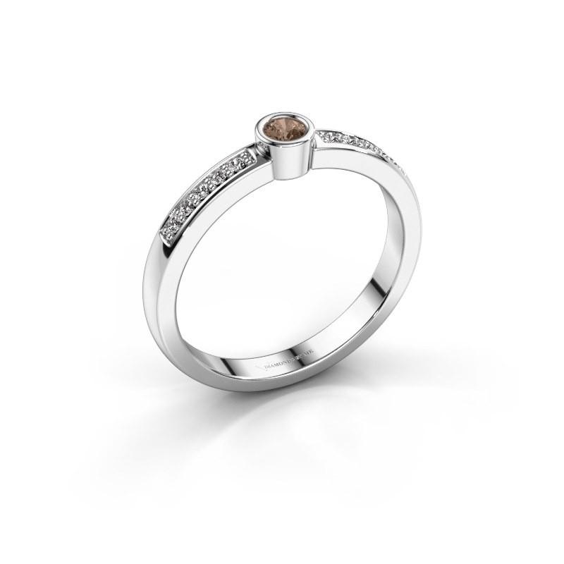 Aanzoeksring Ise 2 925 zilver bruine diamant 0.155 crt