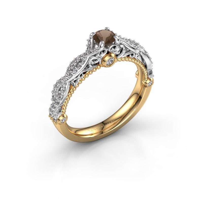 Verlovingsring Chantelle 585 goud rookkwarts 4 mm