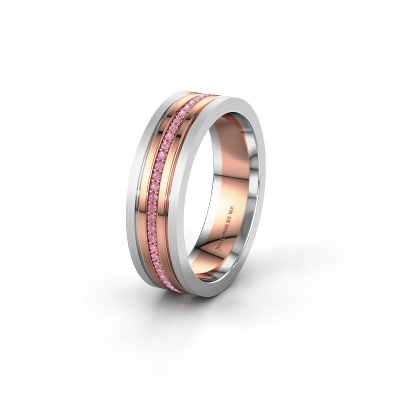 Wedding ring WH0404L16A 585 rose gold pink sapphire ±0.24x0.07 in