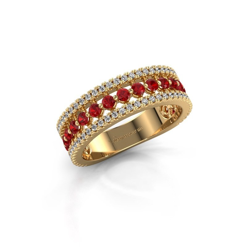 Verlovingsring Elizbeth 1 375 goud robijn 2 mm