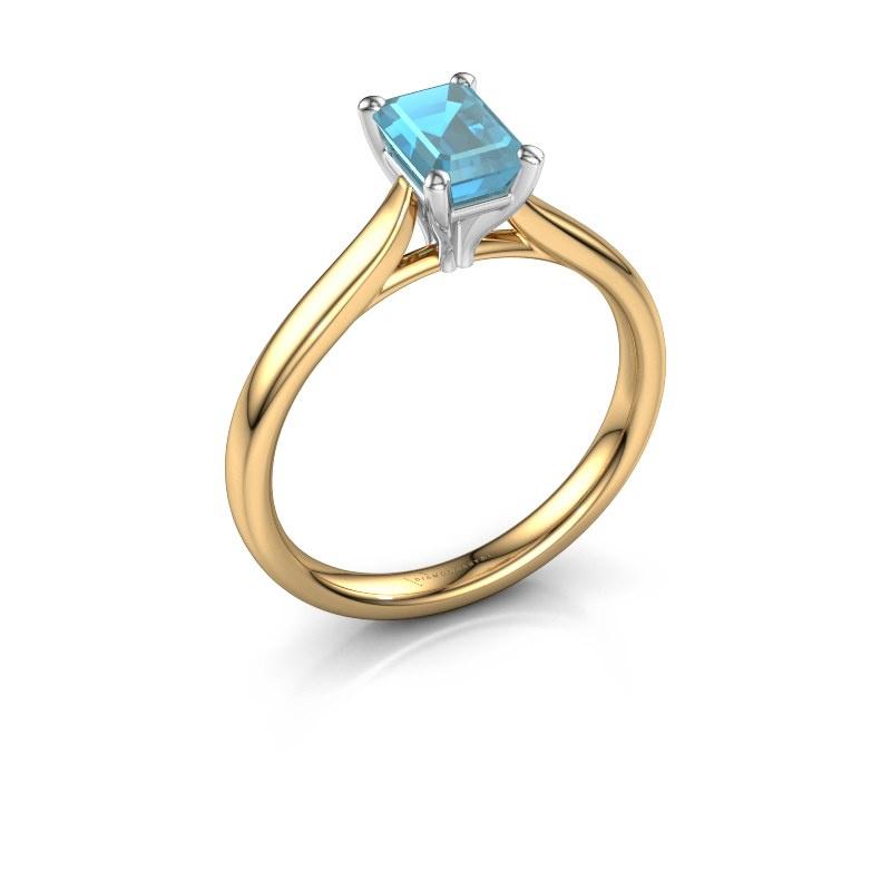 Verlobungsring Mignon eme 1 585 Gold Blau Topas 6.5x4.5 mm