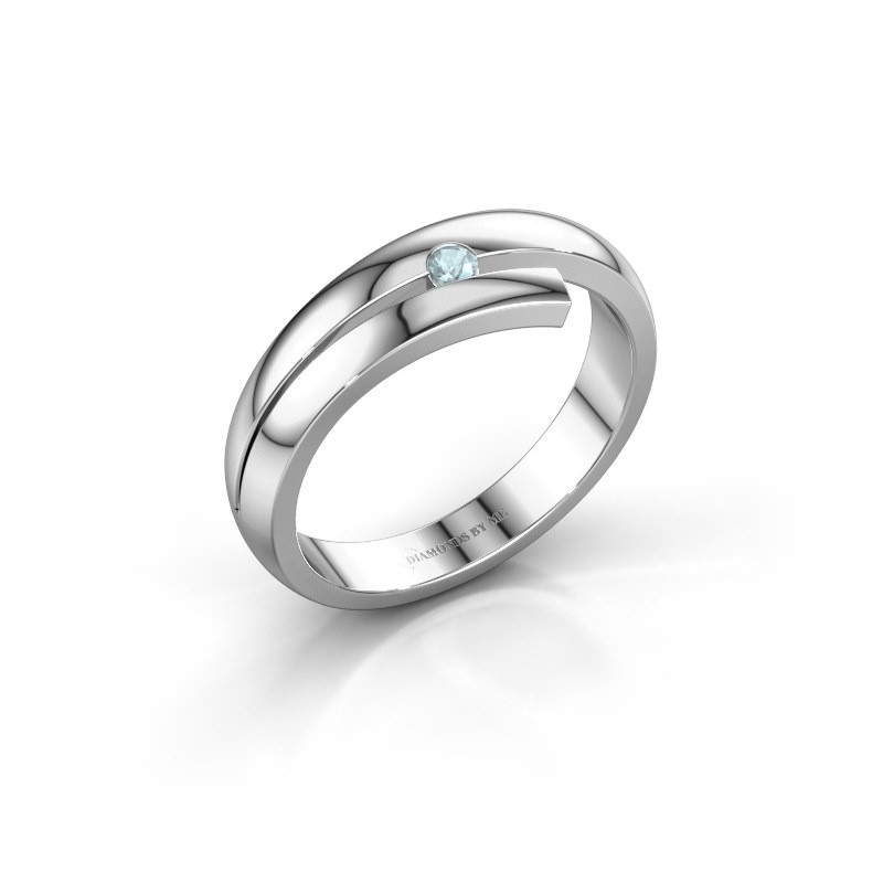 Ring Shela 585 witgoud aquamarijn 2.2 mm