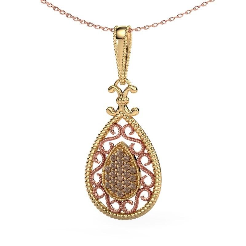 Hanger Tammie 585 goud bruine diamant 0.27 crt