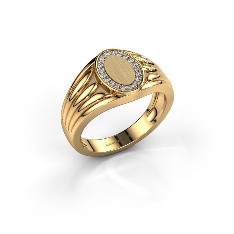 Pinkring Marinus 585 goud zirkonia 1.2 mm