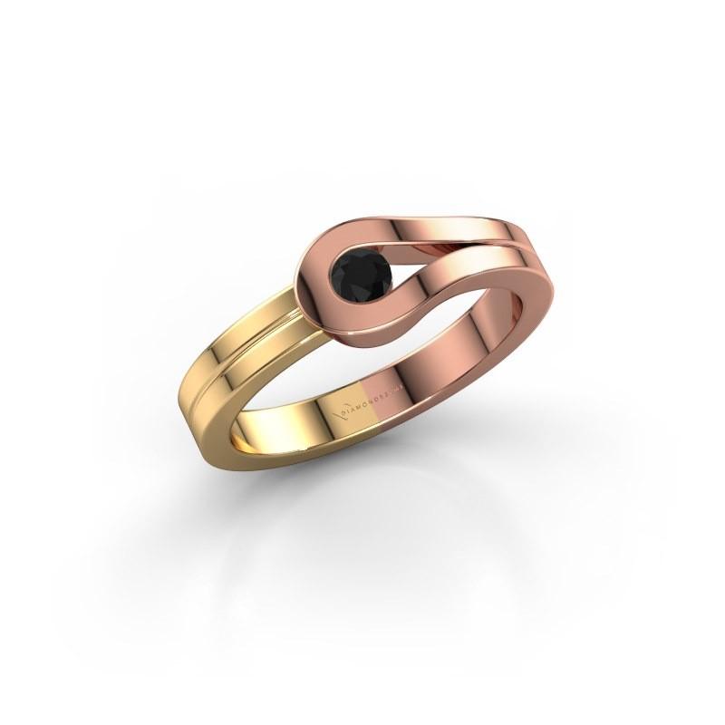 Bague Kiki 585 or rose diamant noir 0.12 crt