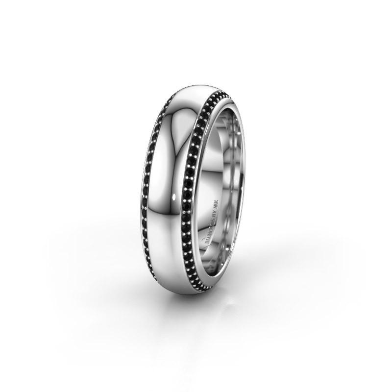 Trouwring WH6132L36C 950 platina zwarte diamant ±6x2.2 mm