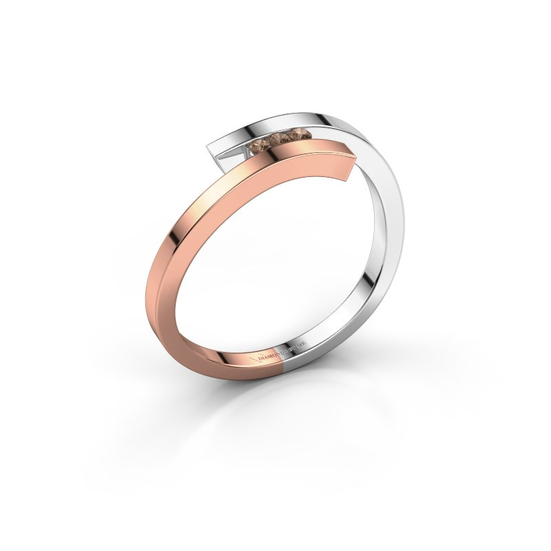 Ring Juliette 585 rosé goud bruine diamant 0.042 crt