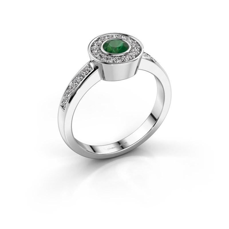 Ring Adriana 2 585 white gold emerald 4 mm